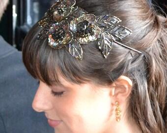 Bridesmaid Headband, Bridesmaid Hairband, Wedding Headband, Sparkly Headpiece, Beaded Headband, Beaded Hairband, Brown Flower Headband