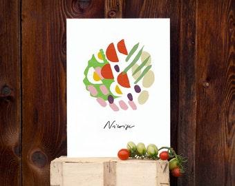 French Recipe Salade Niçoise WHITE Food Art / high quality fine art print