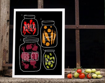 "Science of pickles - Kitchen Art Print 11""x15"" - Food illustration - archival fine art giclée print"