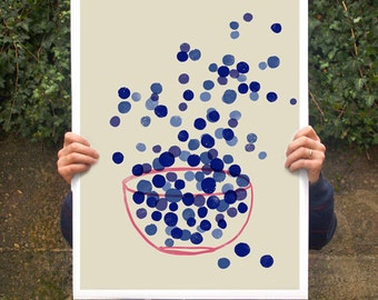 """Blueberry Art poster print - Kitchen Summer Fruit Art / 20""""x27"""" - archival fine art giclée print"""