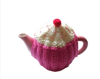 tea cosy cosie cupcake hot pink  and cream wool uk seller