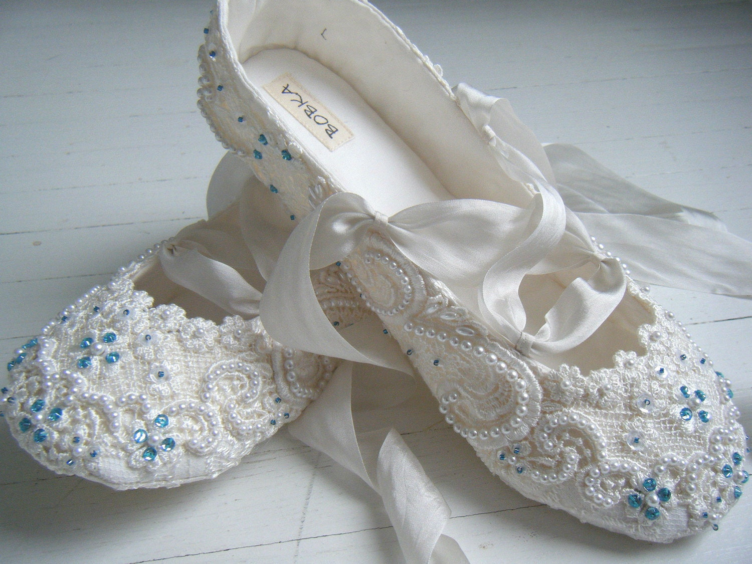 Pearl Bridal Flats Turquoise Rhinestones Or Color Of By