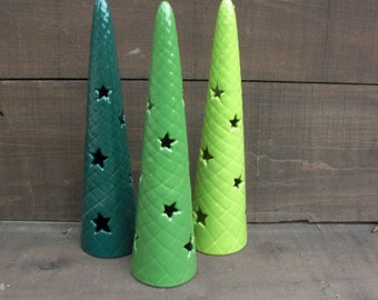 Set of Three Ceramic Christmas Tree Votive Candle Holders - Shades of Greens - Sale