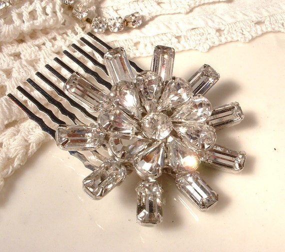 True Vintage Art Deco Clear Rhinestone Bridal Hair Comb, Silver Plated Heirloom Brooch Hair Comb