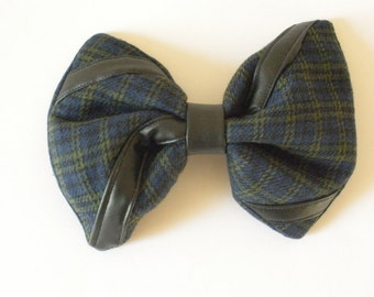 Blue and Green Hair Bow, Large Hair Bow With Black Vegan Leather