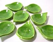Small Ceramic Leaf - Ring Holder/Tea Light Holder/Spoon Rest/Tea Bag Holder/Home Decor - Handmade Pottery - Spring Green