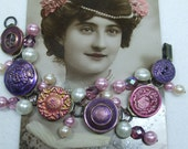 Vintage Beautiful Unique Hand Made Pink and Purple Vintage Button and Bead Bracelet--One of a Kind