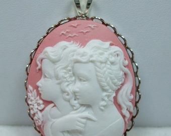 Vintage Pendant Sisters or Mother and Daughter Cameo Cream ,Green,Pink, or Two Tone Reproduction