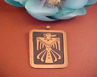 Vintage Southwestern Design Thunder Bird Solid Copper Pendant