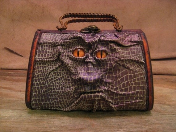 """Grichels leather and wicker purse - """"Snonch"""" 17137 - scaly iridescent purple and white with poppy orange slit pupil reptile eyes"""