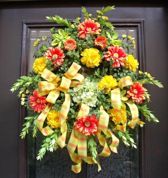 Spring Wreath Door Wreaths Outdoor Wreath Front Door