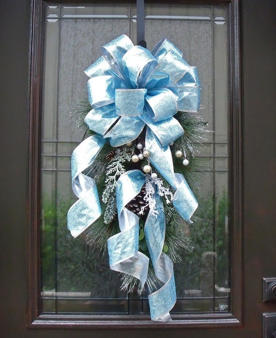 Christmas Swag, Winter Swag, Christmas Wreath, Door Decor, Blue Christmas Decorations