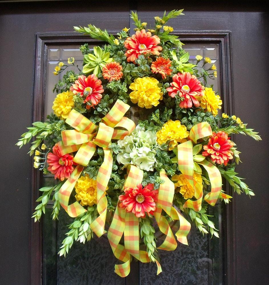 Garland For Front Door: Spring Wreath Door Wreaths Outdoor Wreath Front Door