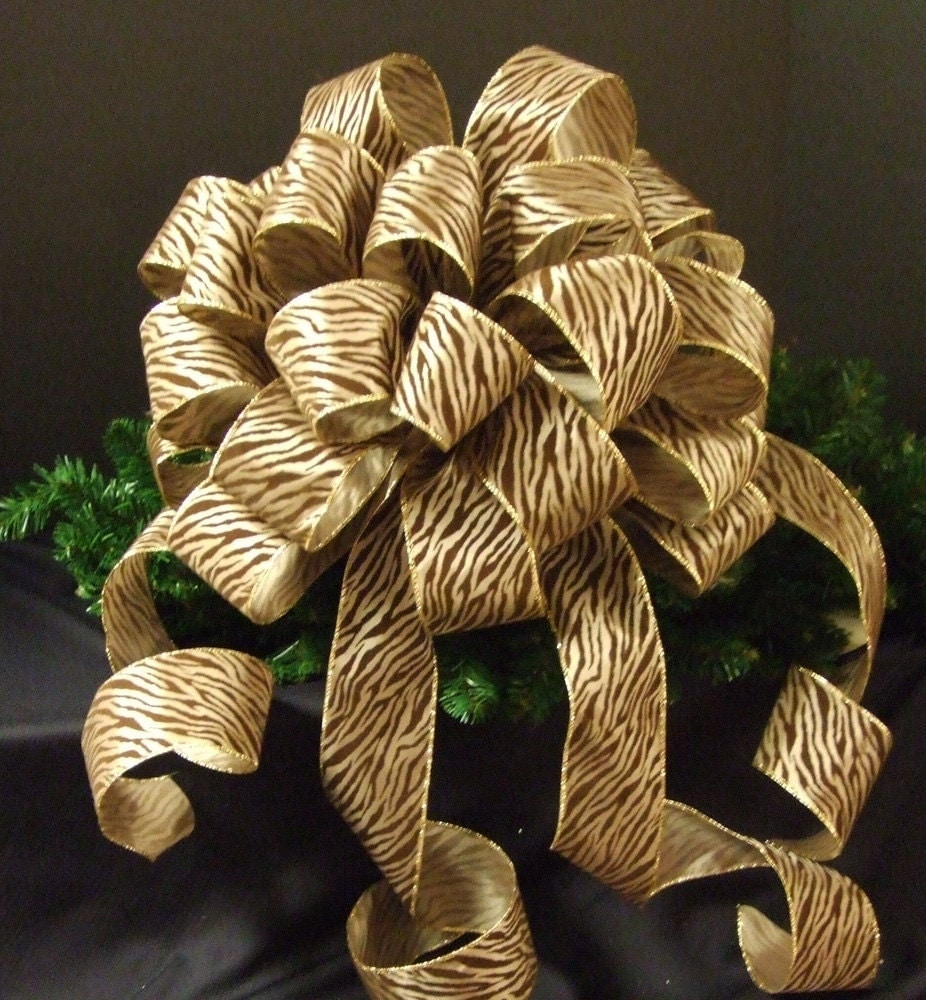 Tree Top Bow For Christmas Zebra Christmas Bow Topper