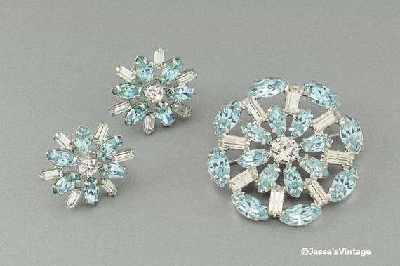 B David Brooch Earring Set Blue & White Rhinestones