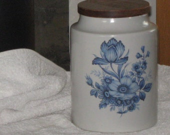 Vintage Hyalyn Canister Cookie Jar with Walnut Lid - Blue Floral -American Pottery
