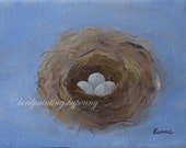 Nest Painting 5 x 7 original BLUE SPECKLED EGGS painting