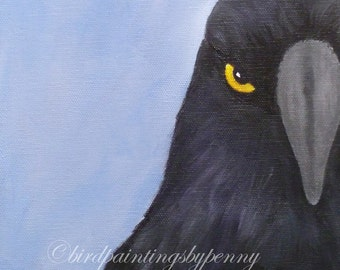 CROW or RAVEN painting 8 x 10 bird painting on canvas