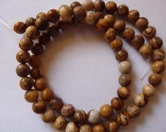 Bead, Picture Jasper, Gemstone, natural, 6mm, round, B grade, Pkg Of 16