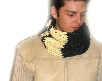 Crochet Tube Neck Warmer, Crochet Circle Scarf,  Crochet Black Neck Warmer, Men's Crochet Scarf, Graphite Black and  Pale Yellow  Scarf,