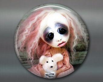 "3.5"" gothic doll fridge magnet, large magnet, kitchen decor, gothic art decor, stocking stuffer gift for her MA-AD13"