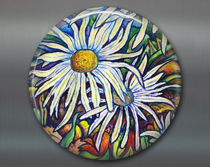 large fridge magnet decor giant magnet, kitchen decor, daisy decor, daisy art decorative magnet,  flower magnet, white flower decor MA-500