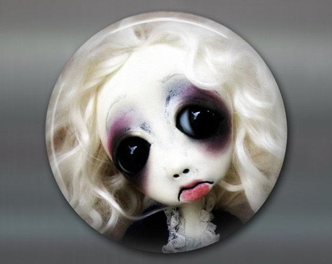 "3.5"" gothic doll fridge magnet, large magnet, kitchen decor, gothic art decor, stocking stuffer gift for her MA-AD14"