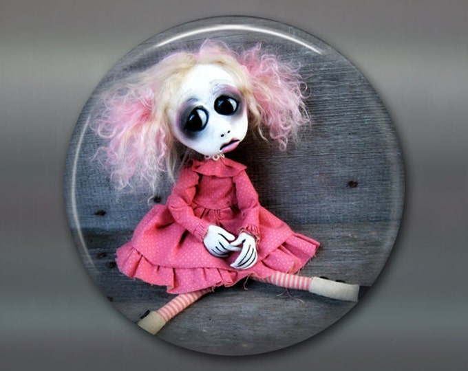 "3.5"" gothic doll fridge magnet, large magnet, kitchen decor, gothic art decor, stocking stuffer gift for her housewarming gift MA-AD35"