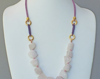 Natural Rough Rose/Pink Quartz  Macrame and Suede Leather Necklace- NK 147