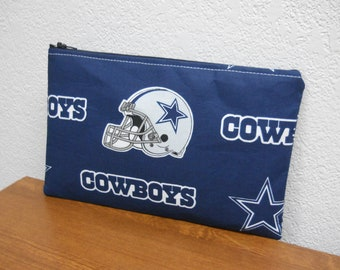 Dallas COWBOYS makeup bag / Pouch / Clutch / Blue and White / Cosmetic Bag