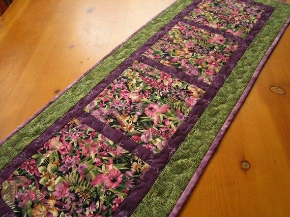 Natures Flowers Table Runner, Quilted Table Runner, Table Runner