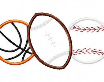 Sports Ball Combo 3 Applique Design Machine Embroidery Design Basketball Football Baseball INSTANT DOWNLOAD