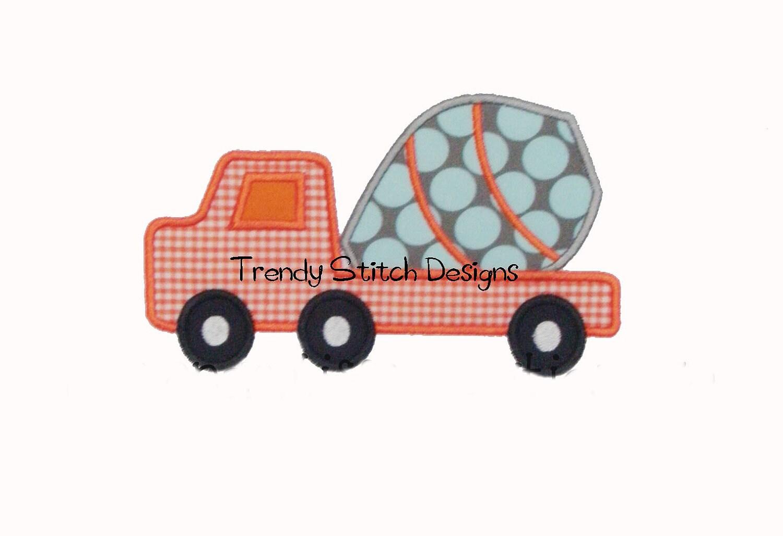 Cement truck applique design machine embroidery instant