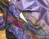 Beautiful Abstract Print Scarf,  Recycled Sari Pure Silk Scarf (22x80)