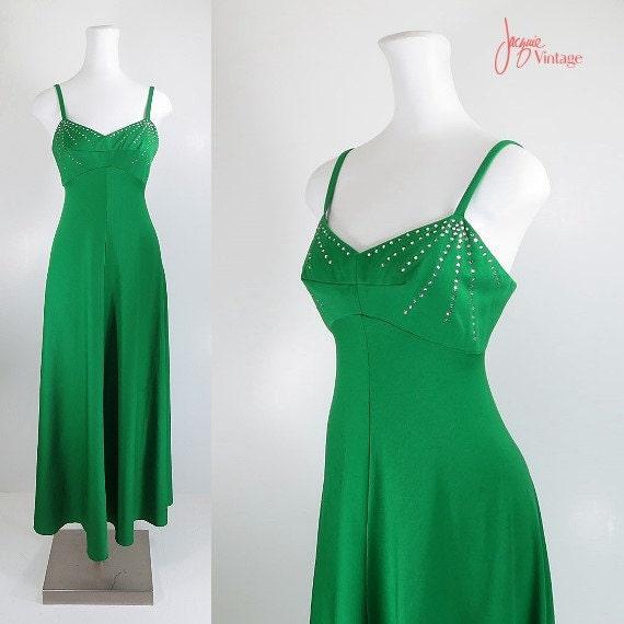 70s evening gown green 70s long formal dress 70s evening