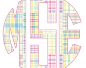 New Design/Sale/Buy One Get One 1/2 Price Tees/Preppy Madras Tee/Circle Monogram