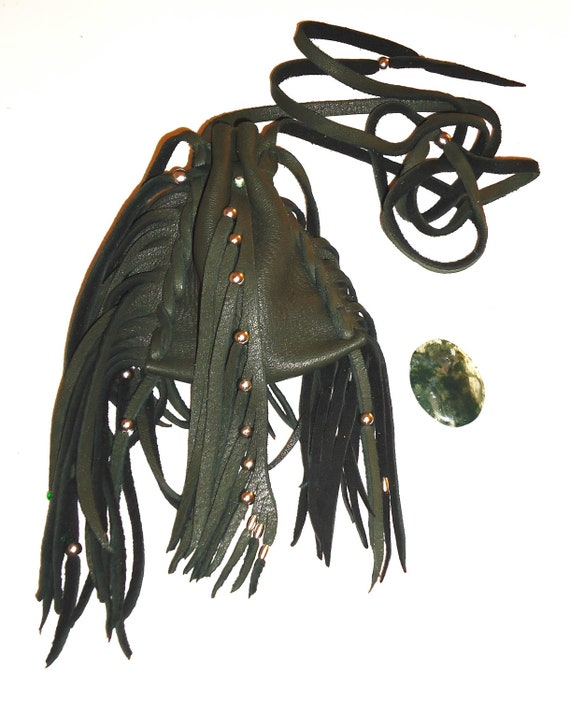 Green deer skin leather medicine bag pouch moss agate worry stone healing