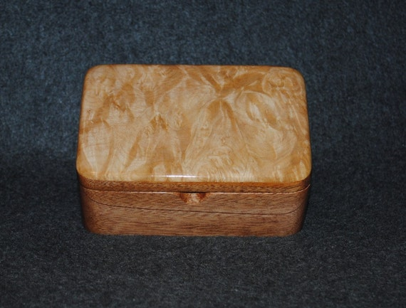 Solid Mahogany and Big Leaf Maple Burl Handmade Wood Box with a Lift Out Tray