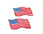 American Flag, Applique, Patch, Military Applique, Red, White, Blue, Red White Blue, USA Flag, Embroidered, Vintage, Flag Patch