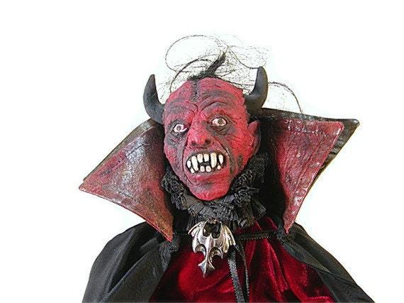 Devil Doll, Primitive, Scarlet, Garnet, Red, Devil, Red Devil, Gothic, Goth, Black, Folk, Primitive Halloween, Black