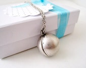 Antique Silver Ball Locket Necklace. simple style ball locket in long chain
