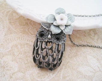 Antique Silver Owl Necklace. silver filigree owl pendant with handpainted flower necklace. long chain handcrafted flower necklace.