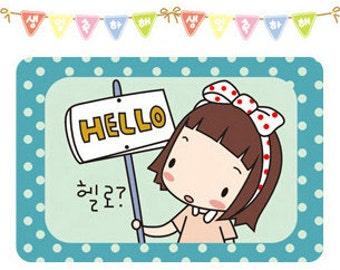 Set of 12 sheets Kawaii Korean Diary Deco Sticker Transparent Set - HELLO GIRL with tin case