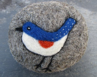 Blue,white and red bird