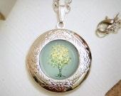 Lemon Bubble Tree  Locket Necklace - Silver Locket - Wearable Art with Silver Chain