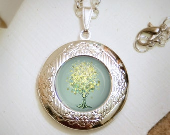 Lemon Bubble Tree  Locket Necklace - Silver Locket - Wearable Art with Silver Chain