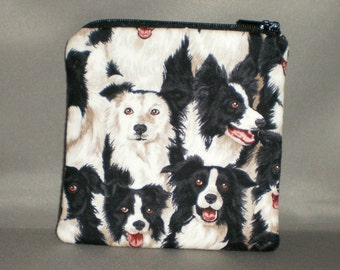 Coin Purse - Gift Card Holder - Card Case - Small Padded Zippered Pouch - Mini Wallet - Border Collie - Dog