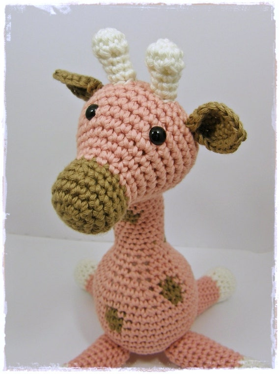 Amigurumi Animal Giraffe Baby Toy Rattle - organic cotton - light pink and brown