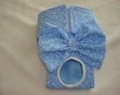 Female Dog Diaper - Panties - Blue with tiny white hearts and flowers