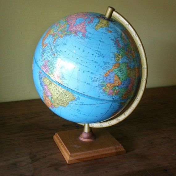 Vintage Cram's Imperial Globe - Small - Wood Base - Made in USA